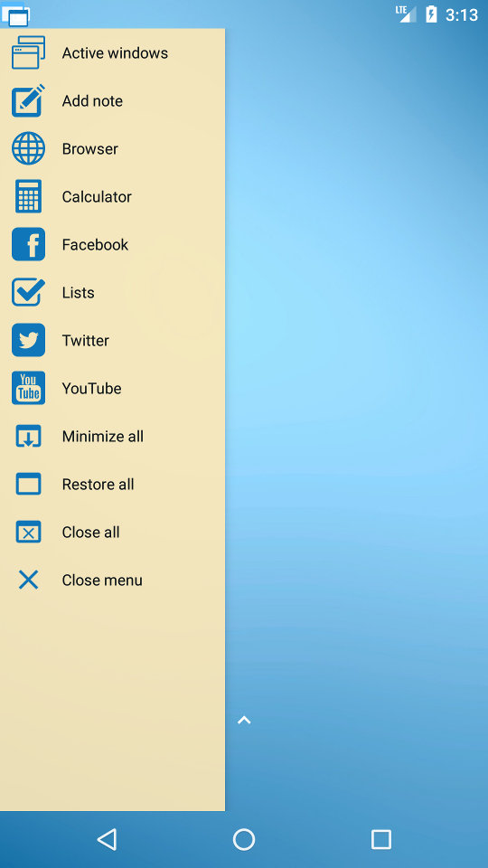 The floating menu is available anywhere and is highly configurable.